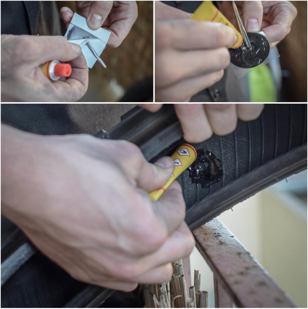 préparer le patch pour réparer un pneu moto