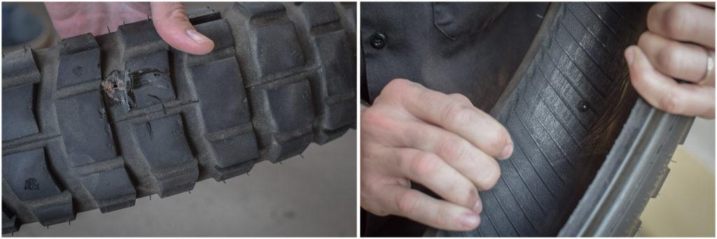 préparer surface interne du pneu pour le réparer avec un patch