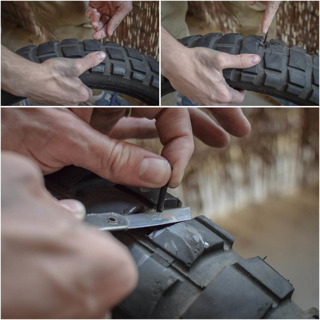 couper le reste de tige après avoir collé le patch à l'intérieur du pneu